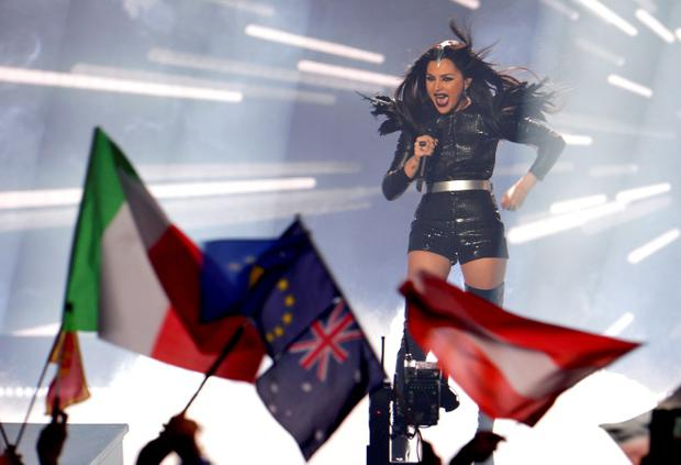 Nina Sublatti representing Georgia performs the song 'Warrior' during the final of the Eurovision Song Contest in Austria's capital Vienna, Saturday, May 23, 2015. (AP Photo/Kerstin Joensson)