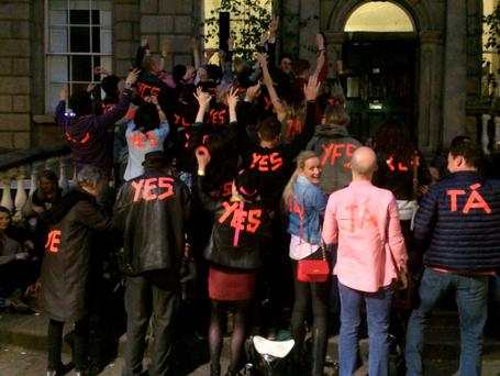 A crowd of #YesVote supporters on Dublin's South William Street this evening Pic: Donal Corkery