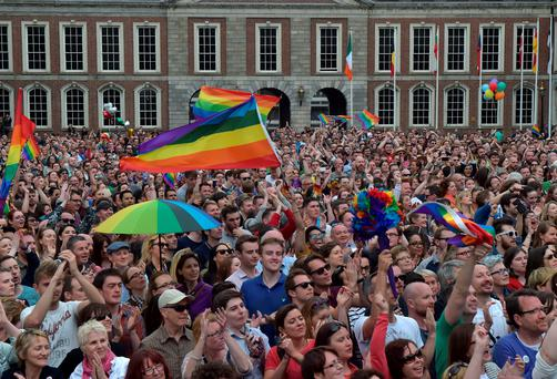 Thousands of people celebrate in Dublin Castle Square as the result of the referendum is relayed on May 23, 2015 in Dublin, Ireland (Photo by Charles McQuillan/Getty Images)