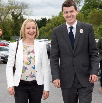 ARRIVING: Left, Lucinda Creighton with Renua candidate Patrick McKee at the count for the Kilkenny by-election