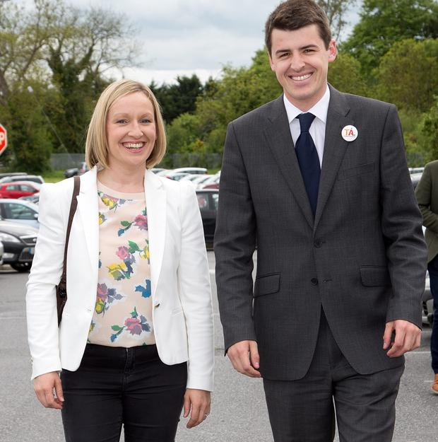 Lucinda Creighton with Renua candidate Patrick McKee at the count for the Kilkenny by-election
