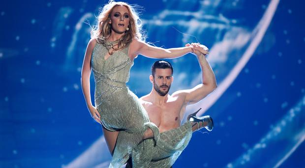 Edurne of Spain performs on stage during the final of the Eurovision Song Contest 2015