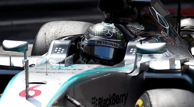 Mercedes AMG Petronas F1 Team's British driver Lewis Hamilton drives at the Monaco street circuit in Monte-Carlo