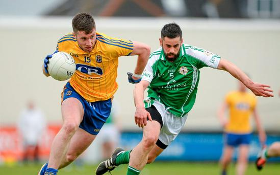 Cathal Cregg, Roscommon, in action against Donnacha McCarthy, London. Connacht GAA Football Senior Championship Quarter-Final, London v Roscommon. P?irc Sm?rgaid, Ruislip, London, England. Picture credit: Piaras ? M?dheach / SPORTSFILE