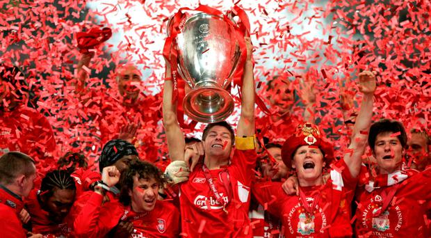 File photo dated 25-05-2005 of Liverpool captain Steven Gerrard lifts the UEFA Champions League trophy. Phil Noble/PA Wire.