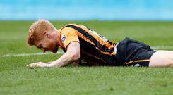 Hull City's Paul McShane lies injured Action Images via Reuters / Craig Brough Livepic