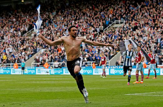 Jonas Gutierrez celebrates after scoring the second goal for Newcastle Action Images via Reuters / Lee Smith Livepic