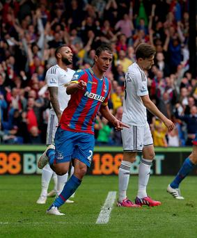 Crystal Palace's Marouane Chamakh celebrates scoring his sides first goal during the Barclays Premier League match at Selhurst Park