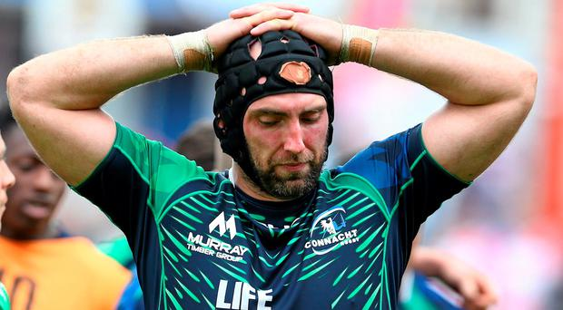 24 May 2015; Connacht captain John Muldoon dejected after his side's extra time defeat. Champions Cup Qualification Play-Off, Gloucester v Connacht. Kingsholm, Gloucester, England. Picture credit: Matt Impey / SPORTSFILE