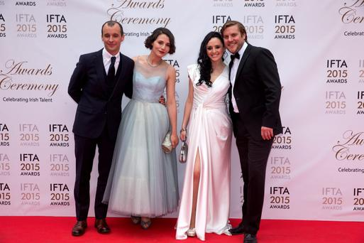 24/5/15 John Vaughan Lawlor, Charlie Murphy, Mary Muray and Peter Coonan pictured on the red carpet at the IFTA Awards at the Mansion House in Dublin. Picture: Arthur Carron