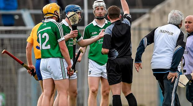 Limerick's Seanie Tobin was unlucky to see red