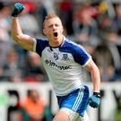 Monaghan's Colin Walshe turns celebrate's scoring his sides winning point against Cavan