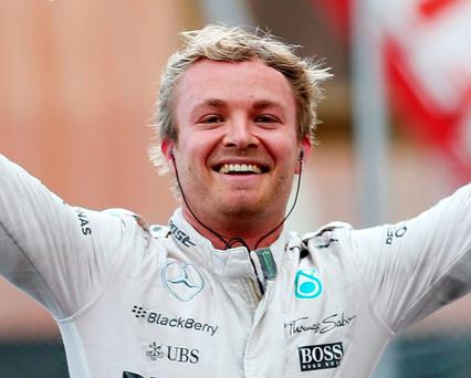 Nico Rosberg celebrates after his 'luckiest' victory in Monaco yesterday