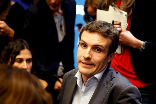 Pablo Casado, campaing chief of ruling People's Party (PP), reacts as he talks to reporters after the regional and municipal elections in Madrid, Spain, May 24, 2015. Spain's ruling People's Party (PP) took a battering in regional elections on Sunday with Spaniards punishing Prime Minister Mariano Rajoy for four years of severe spending cuts and a string of corruption scandals. REUTERS/Juan Medina