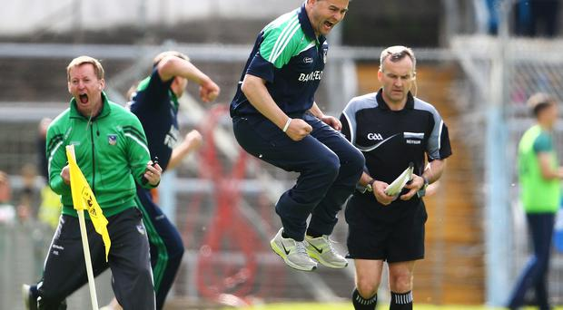 Limerick manager TJ Ryan jumps for joy after Graeme Mulcahy's goal