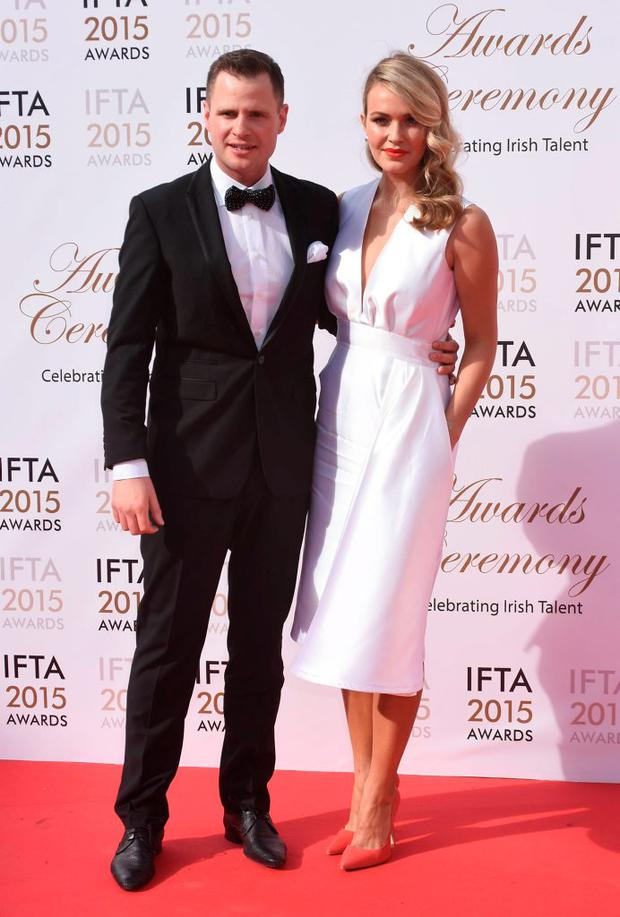 Aoibhin Garrihy & boyfriend John Burke at the IFTA Awards 2015 at The Mansion House