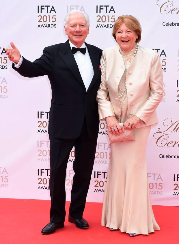 Gay Byrne & Kathleen Watkins at the IFTA Awards 2015 at The Mansion House