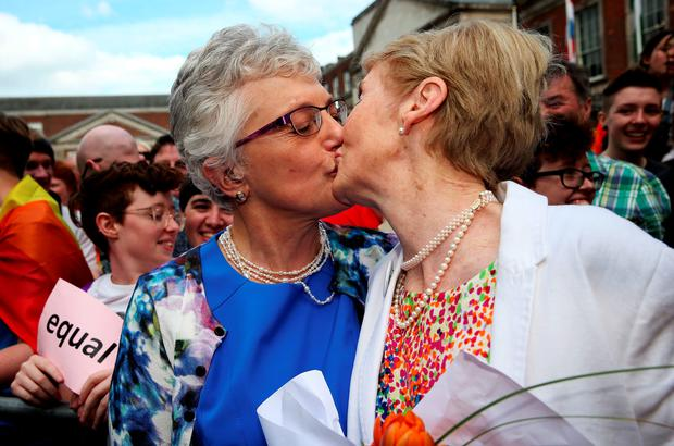 Senator Katherine Zappone (left) with Ann Louise Gilligan at the Central Count Centre in Dublin Castle, Dublin, after Zappone proposed live on TV