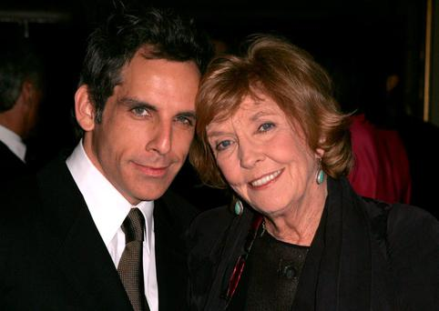 (l-r) Ben Stiller and mother Anne Meara pose for a photo at the Yves Saint Laurent Grand classics Screening of 'Sweet Smell of Sucess' hosted by Ben Stiller and Christine Taylor at the Playboy Mansion on November 11, 2004 in Bel Air, California. (Photo by Frazer Harrison/Getty Images)