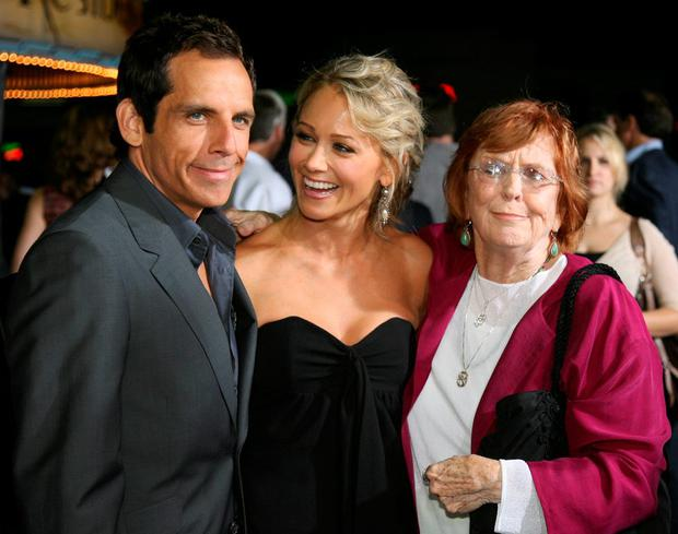 Actor Ben Stiller (L) poses with his wife, actress Christine Taylor (C), and his mother, actress Anne Meara (R) at the premiere of