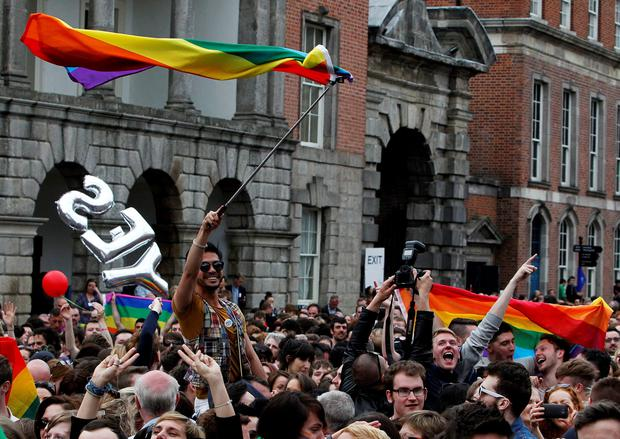 Yes voters celebrate at the Central Count Centre in Dublin Castle, Dublin, as the results of the referendum is announced which showed that Ireland as the country overwhelmingly voted in favour of gay marriage