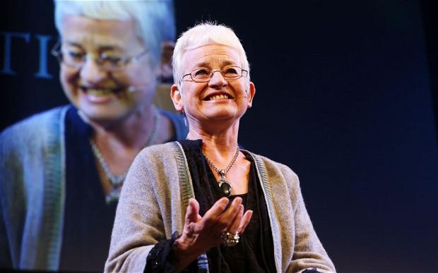 Children's author Jacqueline Wilson speaks on the Tata Stage on the third day of the annual Hay Festival in Hay-on-Wye, Herefordshire, Wales. Sunday May 25, 2014.
