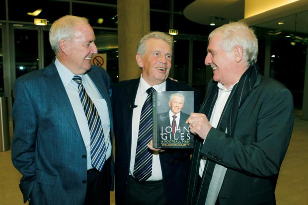 Bill O'Herlihy and Eamon Dunphy at John Giles Book launch in the AVIVA Stadium in 2010