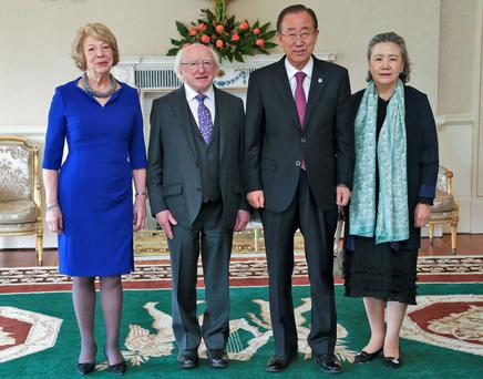 United Nations Secretary General, Ban Ki Moon and his wife,Yoo Soon-taek pictured this afternoon at Aras an Uachtarain with President Michael D Higgins and his wife, Sabina where they had lunch together on the occasion of the 60th anniversary of Ireland's membership of the United Nations... Picture Colin Keegan, Collins Dublin.