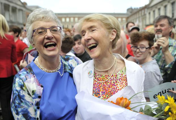 Senator Katherine Zappone and partner Ann Louise Gilligan celebrate the Yes vote after the referendum on same sex marriage. Photo: Clodagh Kilcoyne/Getty Images
