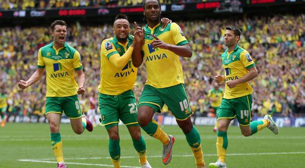 Cameron Jerome celebrates with Nathan Redmond after scoring the first goal for Norwich City Action Images via Reuters / Matthew Childs Livepic
