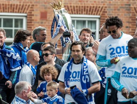 Chelsea manager Jose Mourinho during a parade to celebrate winning the Barclays Premier League, in London. PRESS ASSOCIATION Photo. Picture date: Monday May 25, 2015. See PA story SOCCER Chelsea. Photo credit should read: Daniel Hambury/PA Wire.