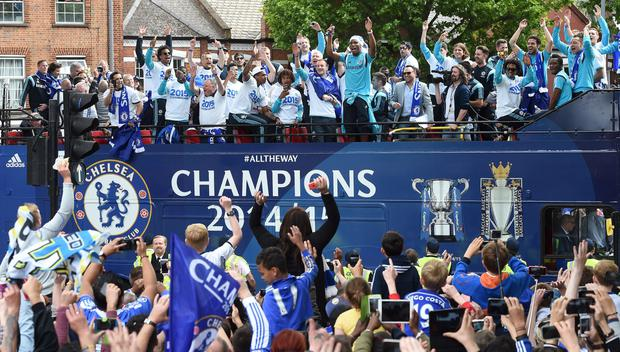 Chelsea players and fans during the parade Action Images via Reuters / Alan Walter Livepic