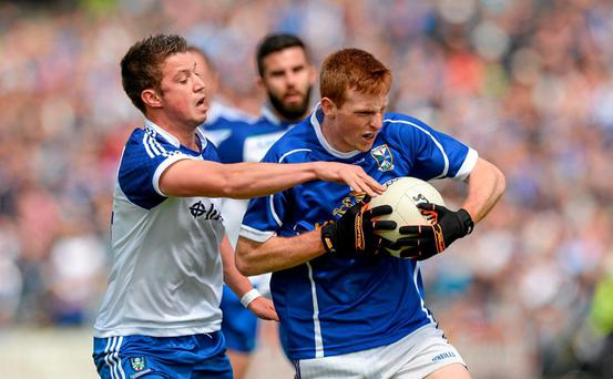 Jason McLoughlin, Cavan, in action against Ryan Wylie, Monaghan. Ulster GAA Football Senior Championship Quarter-Final, Cavan v Monaghan. Kingspan Breffni Park, Cavan. Picture credit: Oliver McVeigh / SPORTSFILE