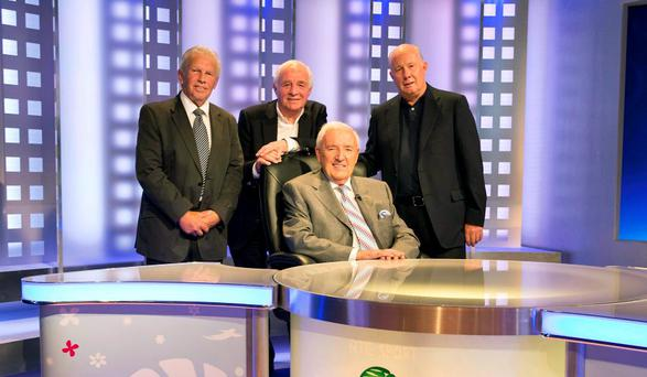 The late Bill O'Herlihy pictured with the 'Three Amigos' John Giles, Eamon Dunphy and Liam Brady