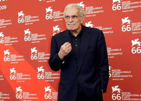 File photo from September 10, 2009: Egyptian actor Omar Sharif gestures during the photo call at the 66th edition of the Venice Film Festival in Venice, Italy. (AP Photo/Joel Ryan, File)