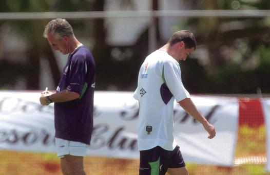 Mick McCarthy and Roy Keane at the Republic of Ireland training camp in Saipan ahead of the 2002 World Cup