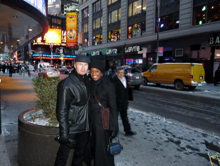 Sade Coppens, pictured with her husband Aron, in New York.