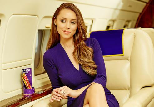 Una Foden sitting aboard the new Cadbury Jet, of which she is a brand ambassador