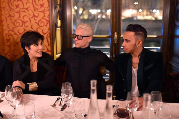 Kris Jenner, Jared Leto and Lewis Hamilton attend the Balmain Aftershow Dinner as part of the Paris Fashion Week Womenswear Fall/Winter 2015/2016