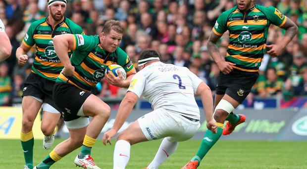 NORTHAMPTON, ENGLAND - MAY 23: Dylan Hartley of Northampton takes on Jamie George during the Aviva Premiership play off semi final match between Northampton Saints and Saracens at Franklin's Gardens on May 23, 2015 in Northampton, England. (Photo by David Rogers/Getty Images)