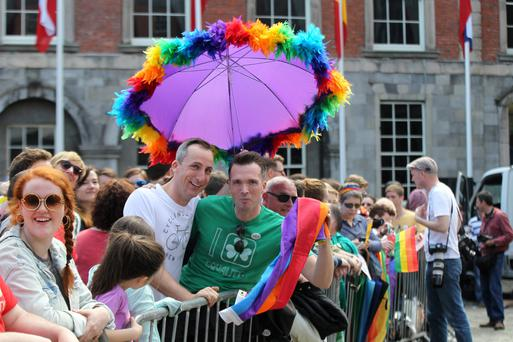 Philip McGovern and Gary Cowen celebrate the result in the marriage referendum at Dublin Castle. The campaign reflected how a minority issue became mainstream, much like how second-hand selling is now become mainstream