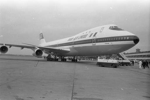 The first Aer Lingus Jumbo 747 on arrival at Dublin Airport March 1971