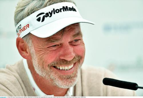 Darren Clarke during a press conference. Dubai Duty Free Irish Open Golf Championship 2015, Practice Day 2. Royal County Down Golf Club, Co. Down. Picture credit: Ramsey Cardy / SPORTSFILE