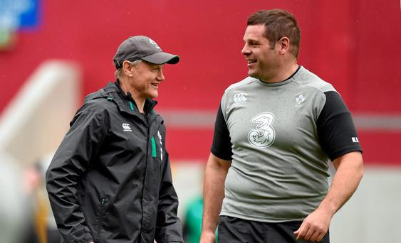 Ireland head coach Joe Schmidt and Mike Ross share a laugh during the captain's run. Thomond Park today
