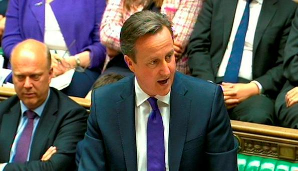 Prime Minister David Cameron speaks during a debate on the Queen's Speech in the House of Commons in London. PRESS ASSOCIATION Photo. Picture date: Wednesday May 27, 2015. See PA story POLITICS Speech. Photo credit should read: PA Wire