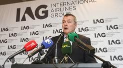 IAG chief executive Willie Walsh outlines details of the take-over bid of Aer Lingus at the Westbury Hotel in Dublin.