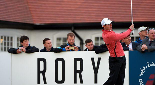 Rory McIlroy of Northern Ireland tees off on the 10th hole during the First Round of the Dubai Duty Free Irish Open Hosted by the Rory Foundation at Royal County Down Golf Club on May 28, 2015 in Newcastle, Northern Ireland.