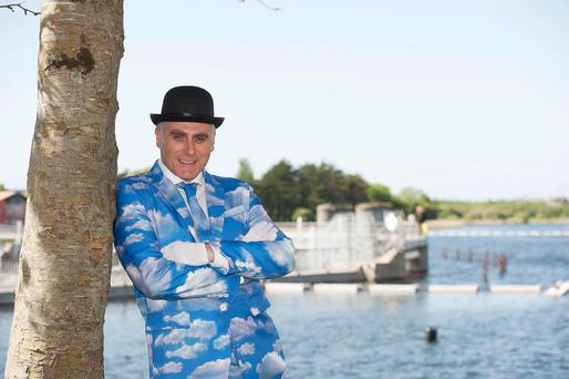 Cloudbusting in Galway! The Sky's the Limit as Paul Fahy, Artistic Director of Galway International Arts Festival celebrates the launch of the??Festival's 2015 Programme by the banks of Galway's River Corrib in the city centre. Photo by Andrews Downes XPOSURE