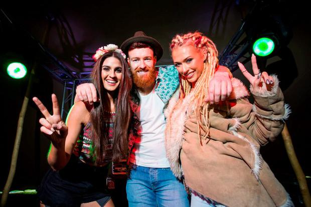 Picture shows from left in the Bulmers Lounge at the Forbidden Fruit site was Lynn Kelly; Paul McLoughlin; and Sophie Shannon 2015