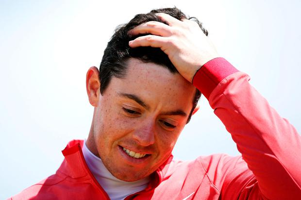 Rory McIlroy reacts as he finishes his round on 9 over par during day one of the Dubai Duty Free Irish Open at Royal County Down Golf Club, Newcastle